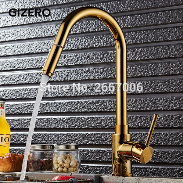 GIZERO Free Shipping Big Water Power Gold Plated Color Faucet Deck Mount Pull Out Spout Hot Cold Mixer Kitchen Tap China GI2072 #Affiliate