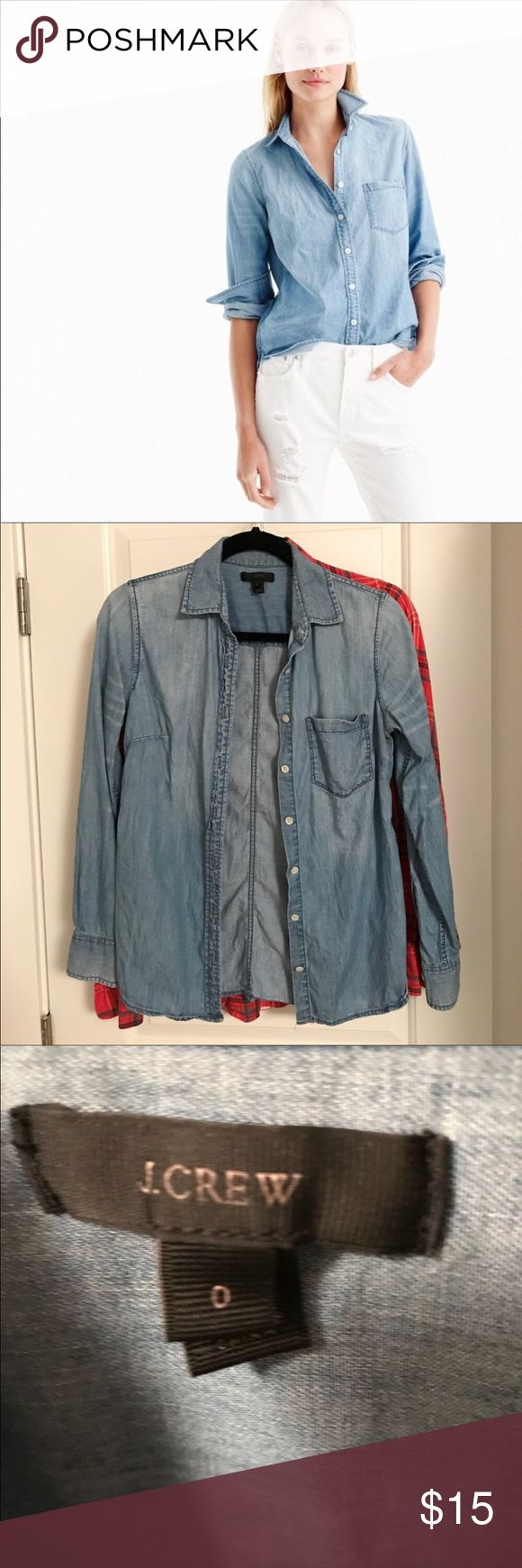 """J. Crew —Always Chambray shirt Has been worn but has lots of life left. Price reflects wear.  PRODUCT DETAILS Washed for a soft, lived-in look and tailored for a boyish fit (emphasis on the """"ish""""—it's quite flattering). This is the one you'll pick up in multiples. Yeah, it's just that good. For more ways to wear it, watch our Style Hacks video now.  Cotton. Button placket. Chest pocket. Machine wash. Import. Item C9310. J. Crew Tops Button Down Shirts"""