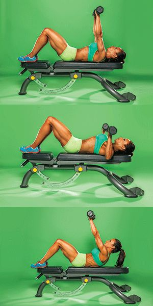 Firm and reshape your top half by doing this upper body exercise DUMBBELL PRESS WITH SCAPULAR PUNCH Works: chest, upper abs - looks fun
