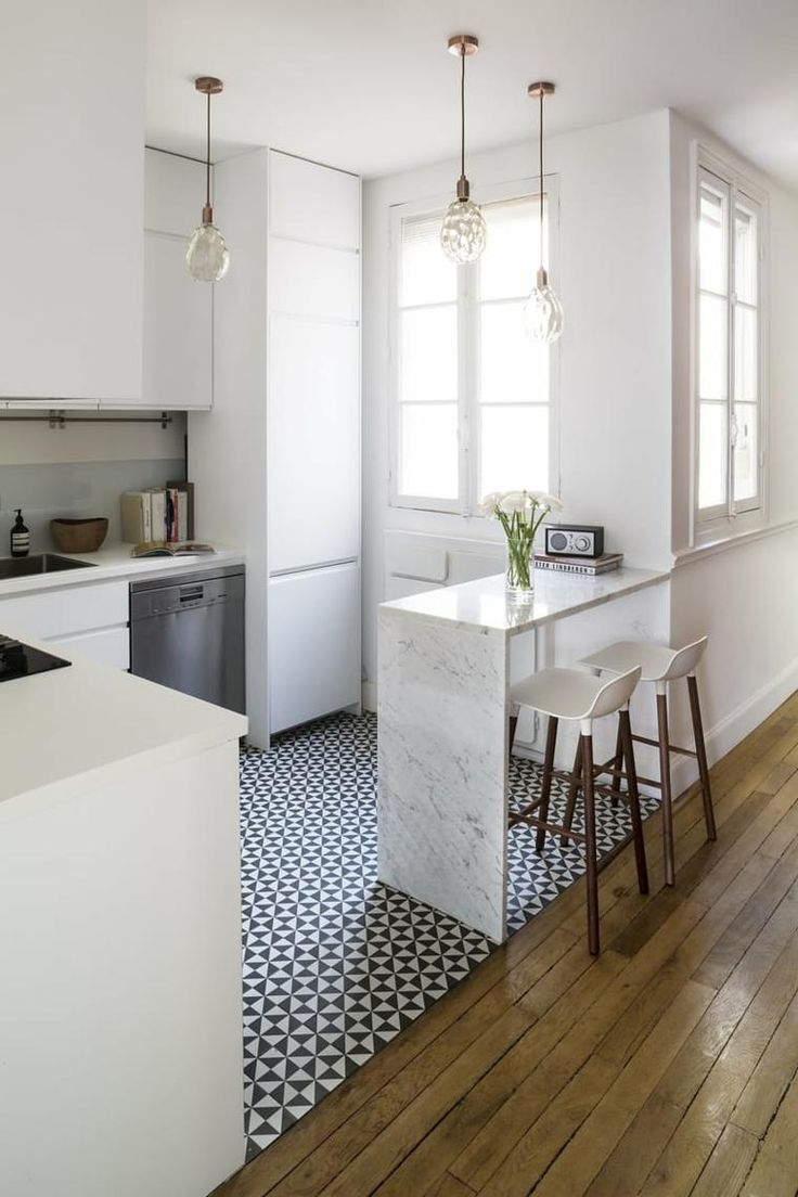 îlot cuisine design amenagement bar petit espace peninsule marbre