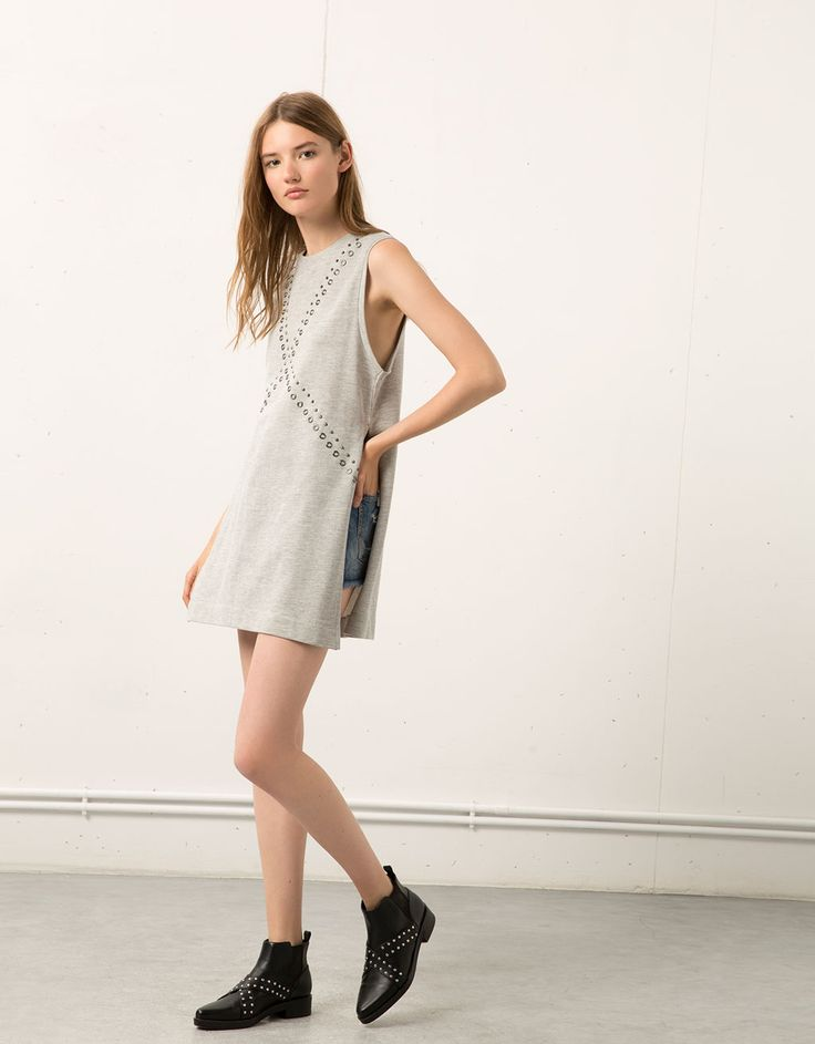 Bershka United Kingdom - Bershka terry dress with front studs and eyelets