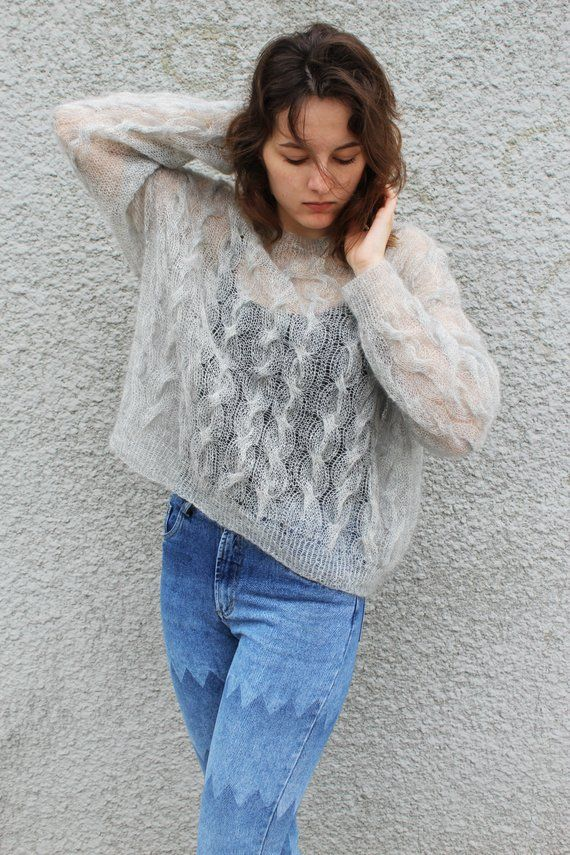 Oversized cable knit fuzzy mohair sweater pullover Loose knit cropped sweater jumper Long sleeve crop top Bohemian Clothing MADE TO ORDER