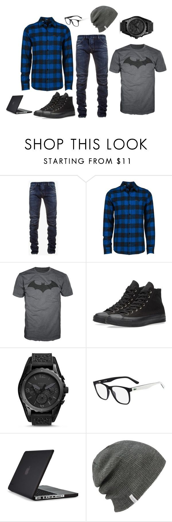 """""""An outfit for my man"""" by khopejohnston ❤ liked on Polyvore featuring Balmain, Volcom, Converse, FOSSIL, Lacoste, Speck, men's fashion and menswear"""