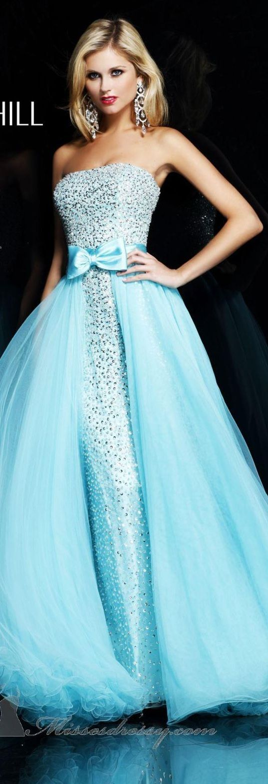 Sherri Hill couture 2013 baby sky mint blue strapless beaded gown with a chiffon layered add on two piece detachable skirt dress with tiny cute satin Bow