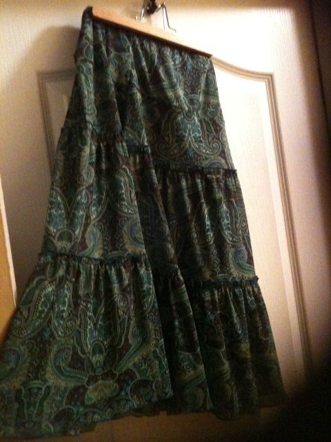 Blue green print. Can wear the brown lace & ribbon underneath for a crinoline look. From Talize. $4.00.
