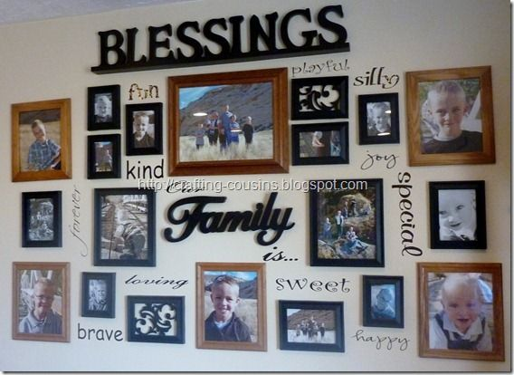 photo/vinyl wall collage tutorial...this is a great way to spruce up a boring wall!