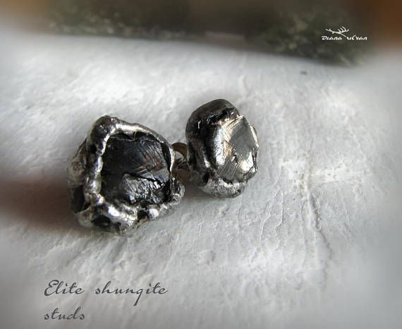 Elite shungite studs natural Karelia shungite in 316