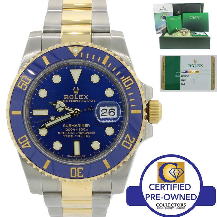 2016 MINT Rolex Submariner Blue Sunburst Ceramic 116613LB Two Tone Gold Watch BP