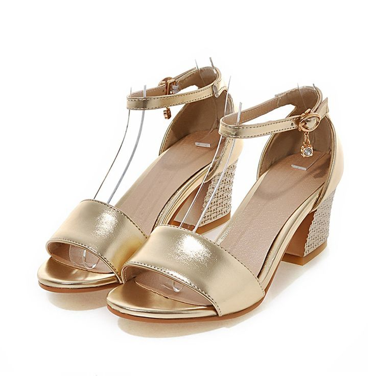 Women Sandals Square Block High Heels Metalic Leather Open Toe Crystal Casual Dress Party Big Plus Size Gold Summer Ladies Shoes