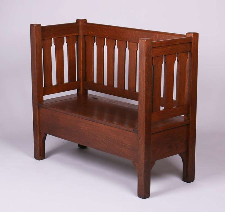 1263. Rare L&JG Stickley evenarm hall bench with lift-up seat. Signed. Refinished. 37″h x 42″w x 18″d SOLD