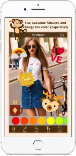 PhotoArt PicMonkey Image Editor is an amazing iPhone App that provides you photo editing tools with fantastic stickers, photo filter and text.