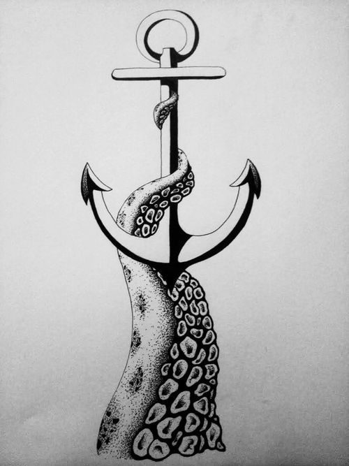 Anchor tattoo octopus leg sketch drawing design idea free for Tattoo classes online free