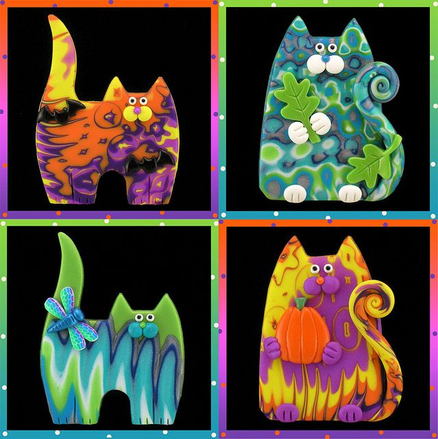 4 Colorful Kitty Cat Pin by artsandcats, via Flickr