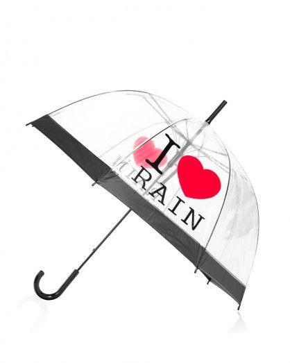 Transparentný dáždnik I love rain