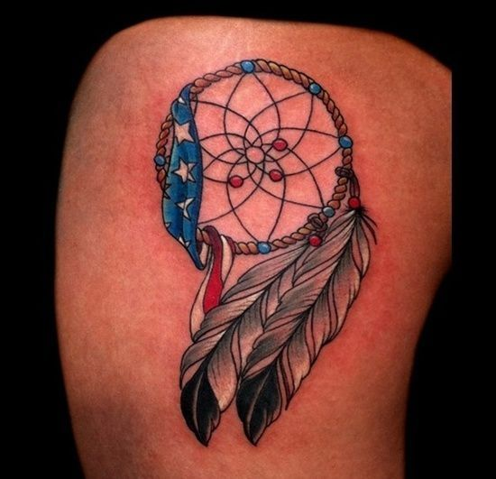 Best Flag Tattoos Design: Feather And American Flag Tattoo Design ~ Tattoo Design Inspiration by