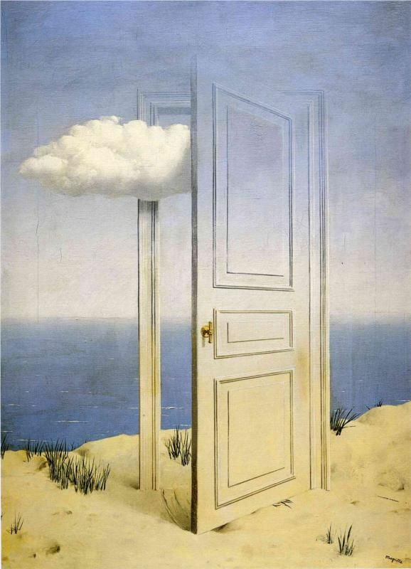 The Victory, by René Magritte.  Similar to the glass being half full or empty.  Is the cloud (bad times) entering or leaving????