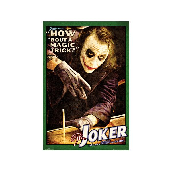 Batman: The Dark Knight - Joker Magic Trick Poster ($4.99) ❤ liked on Polyvore featuring home, home decor, wall art, word wall art, quote posters, typography wall art, batman poster and typography poster
