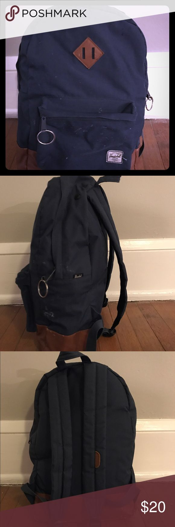 Blue, Herschel Bookbag, zip-up Shows obvious signs of use, but is comfortable to wear and holds a lot Herschel Supply Company Bags Backpacks