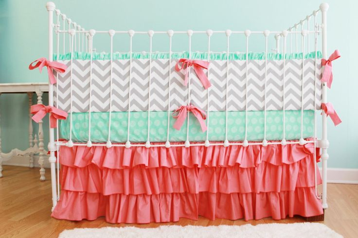 Gray Chevron Baby Bedding, Custom Girl Baby Bedding Set featuring Mint and Coral Crib Bedding for Custom Nursery by LottieDaBaby on Etsy https://www.etsy.com/listing/154112107/gray-chevron-baby-bedding-custom-girl