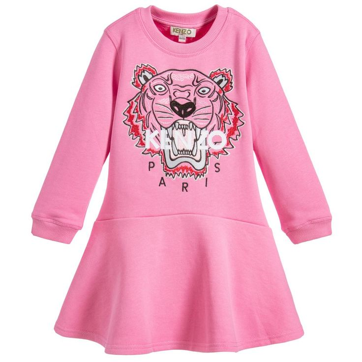 In candy pink cotton jersey, this sweatshirt dress from Kenzo Kids is embroidered on the front with the iconic tiger design. There is a dropped waist and a flared skirt, with ribbed cuffs and neckline. The inside has a soft fleece feel for warmth.