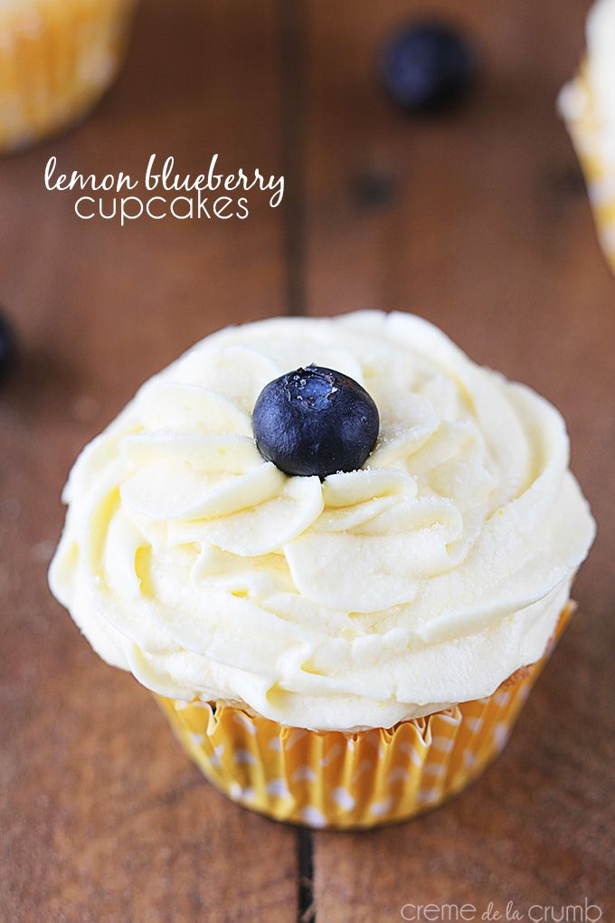 Moist lemon cupcakes loaded with fresh blueberries and topped with a simple yet decadent lemon buttercream!
