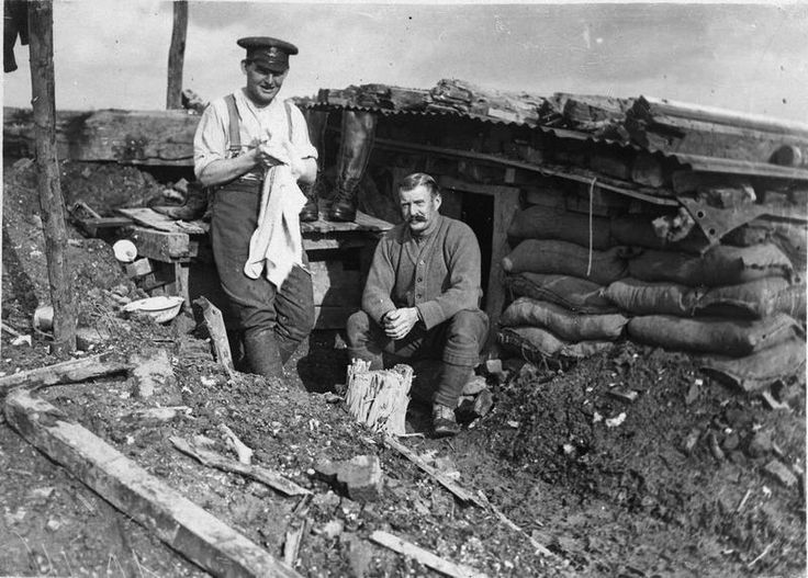 British gunners outside their dugout near Guillemont, 22 October 1916