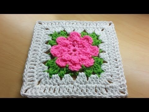 Crochet rose granny square  - video tutorial