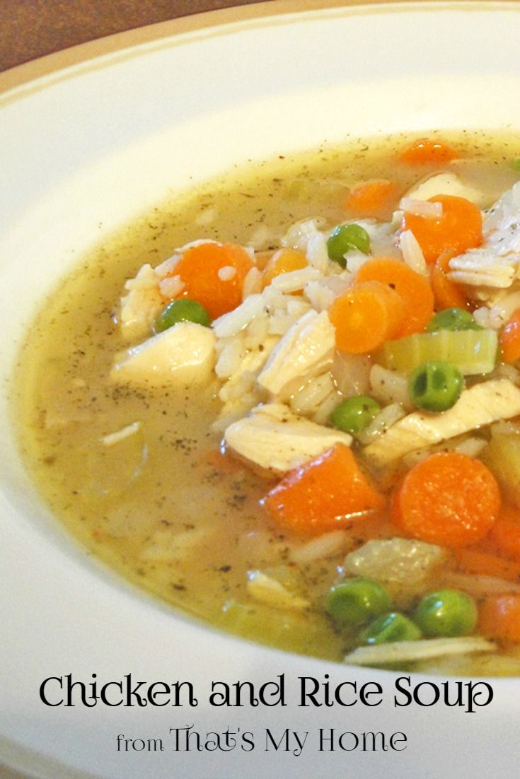 Chicken and Rice Soup is chunks of white chicken, celery, onions, carrots and peas with a serving of rice in rich flavorful broth.