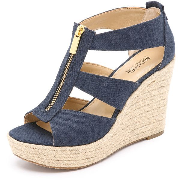MICHAEL Michael Kors Damita Wedge Sandals (£74) ❤ liked on Polyvore featuring shoes, sandals, wedges, navy, canvas shoes, wedge heel sandals, platform sandals, wedge sandals and navy blue wedge shoes