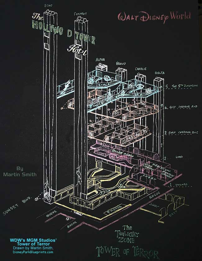 Tower of Terror blueprint | disney world | hollywood studios