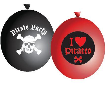 I love pirates ballonnen, 6 stuks. Set ballonnen piraten party. De ballonnen zijn rood en zwart. Op de rode ballon staat: I love pirates en op de zwarte pirate party met een doodshoofd.