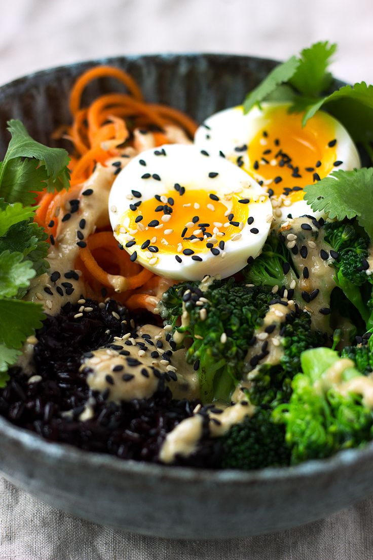 Black Rice, Vegetable and Egg Bowls with Peanut Sauce. An effortless vegetarian meal that's both healthy and incredibly flavoursome.