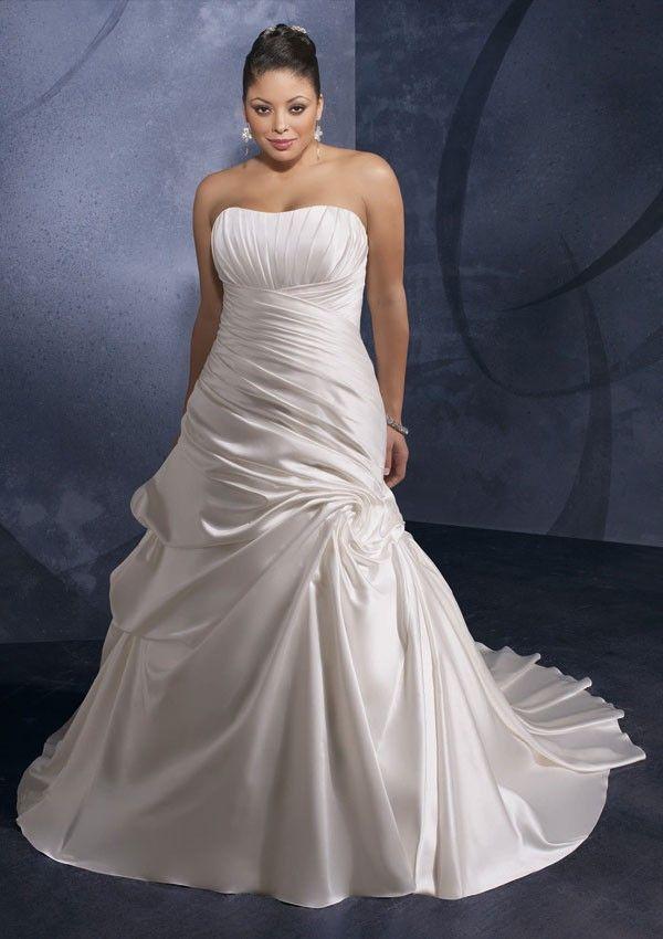 Strapless Ruffled Satin Corset Full Length A Line Plus Size Wedding Dress