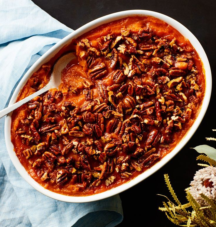 3-Ingredient Sweet Potato Casserole With Maple Pecans Recipe | Epicurious