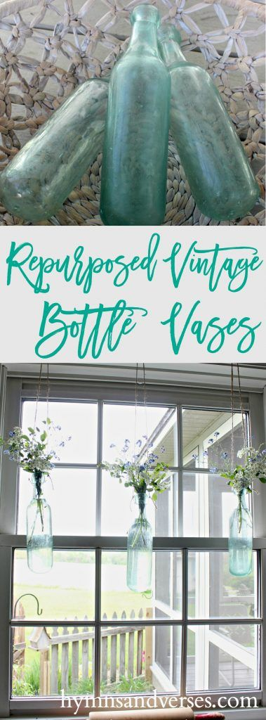 Repurposed Vintage Bottles - Hanging Vases - Hymns and Verses
