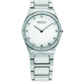 Bering Ladies Stainless Steel & White Ceramic White Dial With Swarovski Crystal Ceramic Bezel With Roman Numerals/ Sapphire Crystal Glass 50M