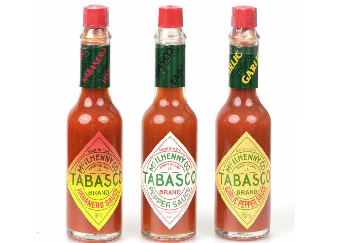 Tabasco pepper sauce ||  Combine Tabasco with yoghurt, minced raw garlic and a little hot melted butter, and pour the sauce over poached eggs to make Turkish-style breakfast eggs. Unusual but yummy.