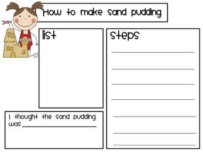 how to writing - making sand pudding
