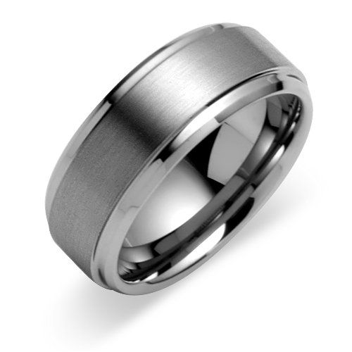 14k white gold mens wedding bands rings satin finish 8mm - Wedding Ring Man