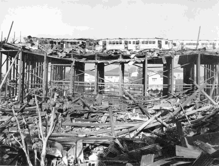 The beginning of the end of Brisbane trams. Burned FMs on the wreckage of the Paddington Depot destroyed by fire on 28 September 1962.