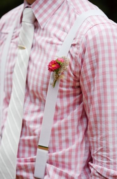 Groom & Groomsmen: Dapper groom in pink plaid and suspenders for wedding day // Photo by: Rachel Peters Photography on Every Last Detail