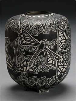 dragonfly Tim Christensen sgraffito pottery ceramics clay