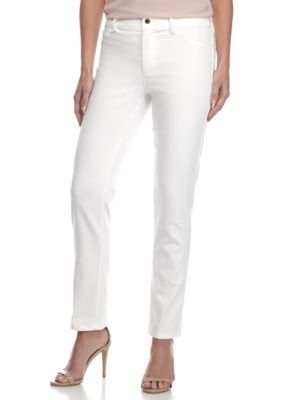 Calvin Klein Women's Compression Pants With Zipper - Soft White - 10 Average