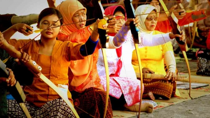 Women archers in traditional Mataraman archery from Yogyakarta, Indonesia