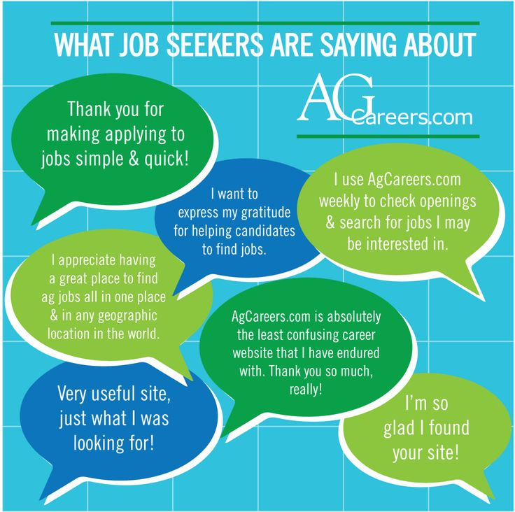 Infographic- Title: What Job Seekers are saying about AgCareers.com.  Image Text: Thank you for making applying to jobs simple & quick!  I want to express my gratitude for helping candidates to find jobs.  I use AgCareers.com weekly to check openings & search for jobs I may be interested in.  I appreciate having a great place to find ag jobs all in one place & in any geographic location in the world.  AgCareers.com is absolutely the least confusing career website that I have endured with…