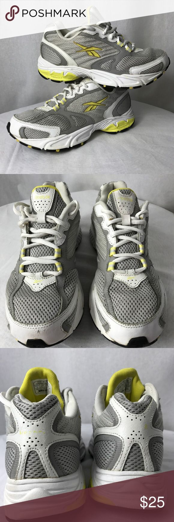 Reebok Athletic Shoes• Sz 8 New Year Resolutions?? Here are some nice workout Reeboks. Silver grey and a pop of yellow, weather you are a walker, Zumba or weight training these are a nice looking shoe. Reebok Shoes Athletic Shoes