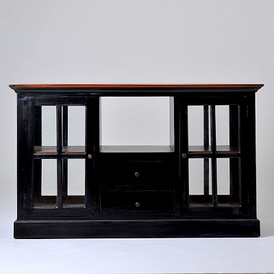 Lunenburg Low Cabinet   Description Features 2 glass-pane doors and 2 drawers   was $1489.99 now $744.99  SKU 116240 Two-tone Black and Red  22.00 inches wide x 59.00 inches long x 36.00 inches high