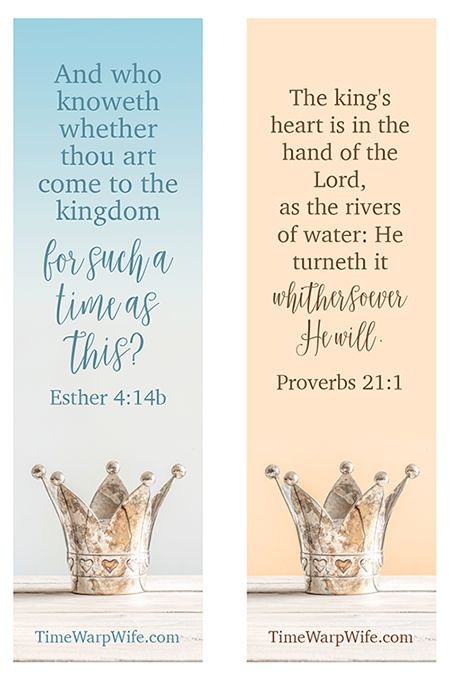 FREE PRINTABLE bookmarks for the study of Esther from @timewarpwife
