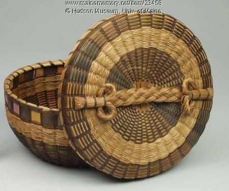 """Sewing basket, ca. 1930. This Maine Indian basket features """"Roman"""" colors, in which groups of brightly dyed standards (the vertical splints) have been grouped together like bands of the rainbow."""