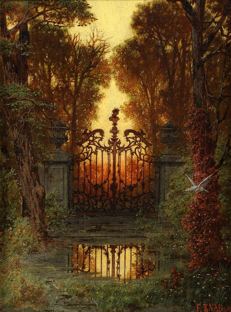 "Lake Landscape with Temple R uins ( 1898) Oil on C anvas (25.6"" x 19.7"") The Castle P ortal ( 1881) Oil on Canvas (13.4"" x..."